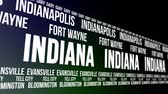 united states : Indiana State and Major Cities Scrolling Banner