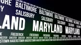 estados unidos : Maryland State and Major Cities Scrolling Banner Stock Footage