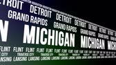 estados unidos : Michigan State and Major Cities Scrolling Banner