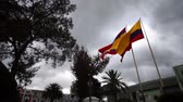 Латинской Америки : The flag of the province of Loja and the flag of the country of Ecuador flying in the wind on two separate flagpoles with a cloudy sky background.