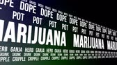 garnek : Animation of the word marijuana and other slang terms for the recreational and medicinal drug.