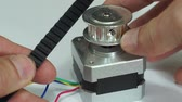 prototype : Comparing Cogged Belt Pulley Stepper Motor Macro Stock Footage