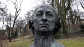 HALLE (SAALE), GERMANY - February 22, 2017: Handheld shot of the bust of the German composer Johann Friedrich Reichard in the Reichards Garden Park which was once his private garden in Halle Germany.