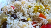 scrambling : Chef flavoring rice salad
