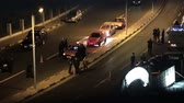 riot control : HURGADA, EGYPT - MARCH 22, 2015 Arab police and secret service of Egypt inspect cars on the street in search of criminals or terrorists on MARCH 22, 2015 in HURGADA STREET, EGYPT. Stock Footage