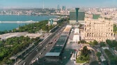 azerbaijan : Baku, Azerbaijan - May 2018: Timelapse of Baku city traffic and Caspian sea, Azerbaijan