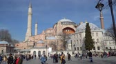 mecset : istanbul, Turkey - March 2019: Hagia Sophia Ayasofya in Sultanahmet Square park with tourist crowd, istanbul, Turkey