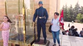 Ankara, Turkey - August 2019: People posing with Honor Guard at Anitkabir Mausoleum of Ataturk with people visiting the Great Leader Ataturk in his grave to convey his love and respect.