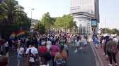lesbian : Johannesburg, South Africa - October 2019: Crowded people marching and having fun at Gay pride March Stock Footage
