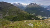 Panorama of the Upper Engadine from Muottas Muragl, Switzerland Stock Footage