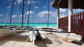 Catamarans on the empty tropical beach, Cuba
