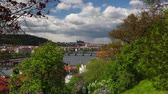 Prague,Czech Republic - April  23,2017: View from Vysehrad after rain.It is a historic fort located in the city of Prague. It was built, probably in the 10th century, on a hill over the Vltava River. Stock Footage
