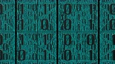 3D animation of many digits of cyan binary code moves right to left in front of the camera. This video symbolizes the transmission of digital data. Stock Footage