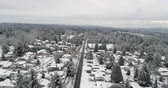 Сиэтл : Aerial View Newcastle Renton Washington Snow Covered City Winter Landscape