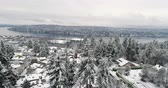Сиэтл : Newcastle Renton Washington Snow Covered Landscape Aerial View Стоковые видеозаписи