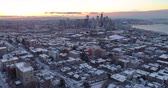 northwest : Seattle Washington Aerial View Winter Snow Sunrise Rays of Light Flying Above City Downtown