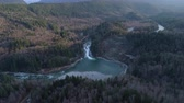 landslide : Skykomish River Washington Aerial Shot of Sunset Falls Train Trestle Waterfall Forest Landslide