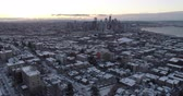 northwest : Seattle Washington Cityscape Aerial Fly Away From Downtown Neighborhood Snowy Cold Winter Landscape