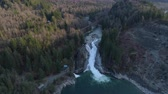 landslide : Sunset Falls Skykomish River Washington Aerial Overview Falls Landslide Stock Footage
