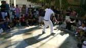 Hip-Hop breakdancers compete in pairs,   Plaza of the Palace of Popes, Avignon