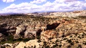 Panorama, tilted layers of sandstone cliffs, Escalante Staircase National Monument, Utah