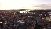 horizont nad vodou : Aerial view of the Stavanger City Bridge in summer evening