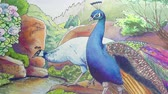 páva : Original pen and ink painting of Indian peafowl in a beautiful landscape. A vibrant blue Peacock and white Peahen.