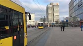 almanca : BERLIN, GERMANY - JANUARY 14, 2018: Time Lapse Walk At Famous Alexanderplatz In Berlin, Germany