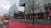 kino : BERLIN, GERMANY - FEBRUARY 3, 2019: Time Lapse of Traffic And Berlinale Advertisement For The Berlin International Film Festival 2019 Near Potsdamer Platz