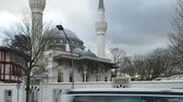 islam : Beautiful Sehitlik Mosque In Berlin, Germany In The Evening