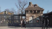 BERLIN, GERMANY - FEBRUARY 17, 2019: The Lion Gate, Entrance To Berlin Zoological Garden, Zoologischer Garten In German Language, In Berlin, Germany In Winter 動画素材