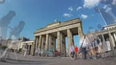 BERLIN, GERMANY - MAY 20, 2018: Fish-Eye Time Lapse of Tourists At Brandenburger Tor, Brandenburg Gate, In Berlin, Germany 動画素材