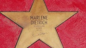 BERLIN, GERMANY - MAY 4, 2019: Star of Marlene Dietrich At Boulevard der Stars, Walk of Fame In Berlin, Germany, Zoom Out