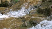 Close-up of A Small Waterfall With Mossy Rocks, Zoom Out Archivo de Video