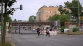 BERLIN, GERMANY - JULY 14, 2019: Timelapse: Traffic And S-Bahn Train At The Yorckbruecken, Historic Railway Bridges Spanning Over Yorckstrasse In Berlin, Germany