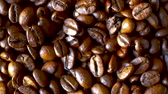 yiyecek ve içecek : Close-up of Rotating Roasted Coffee Beans, Selected Focus Stok Video