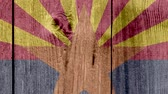 アメリカ国旗 : USA Politics News Concept: US State Arizona Flag Wooden Fence, Zoom Out