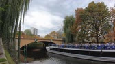 BERLIN, GERMANY - OCTOBER 13, 2019: Timelapse: Tourist Boat At The Canal At Adenauer-Haus in Berlin, Germany