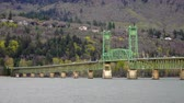 oregon : The Mighty Columbia Flows Under the Bridge at Hood River Oregon Stock Footage
