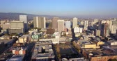 Aerial View Looking West into the Downtown City Skyline of Oakland Califonia Dostupné videozáznamy