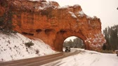 A tunnel is cut through Red Canyon Rock on Highway 12 in Utah