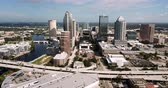 эт : Aerial View Highway and Downtown City Skyline Tampa Florida