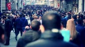 casual : crowd of people walking in the Istiklal street  Taksim  Istanbul  April  2015 4K