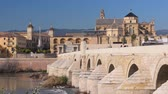 Мадрид : Roman bridge over Guadalquivir river, Great Mosque-Cathedral and city view of Cordoba, Andalusia, Spain