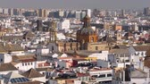 church : Seville city skyline at winter sunny day, Andalusia, Spain