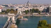 church : Budapest chain bridge and St. Stephens Basilica. City skyline and Danube river, Hungary