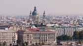 Budapest city view and St. Stephens Basilica. City skyline, Danube river, Hungary
