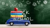 kırtasiye : Back to school looped 4k animation. Car delivering books and apple against green colored school blackboard with education symbols. Car is moving from left to right.