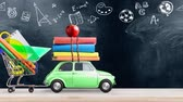 kırtasiye : Back to school. Car delivering books and apple against school blackboard with education symbols. Car is moving from left to right. Seamlessly looped 4k animation