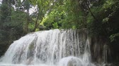 мутный : Erawan waterfall in the rainy season with turbid water with green forest floor,Kanchanaburi Province, Thailand,Normal view Стоковые видеозаписи